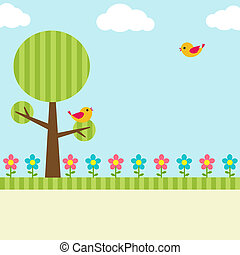 tree background - Background with birds, flowers and tree