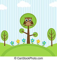 owl on trees - Background with owl, flowers and trees