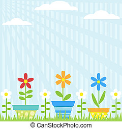 Flower Pots Background - Vector background with flowers in...
