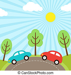 Car background - Vector background with cars on the road