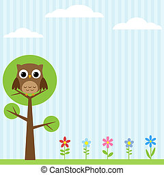 Owl on the tree background - Background with flowers and owl...