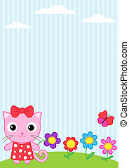 Cat and butterfly - Background with little cat, flying...