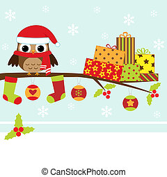 christmas card - Christmas card with cartoon owl
