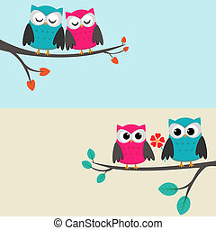 owls_couples - Two cards with couples of owls sitting on...