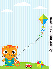 Cat and kite - Background with little cat, flying kite and...