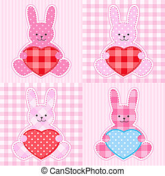 Pink rabbits cards - Rabbit cards in pink for girl