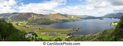Derwent Water from viewpoint - Panorama of Derwentwater in...