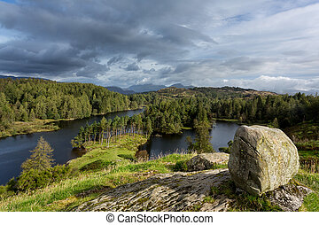 View over Tarn Hows in English Lake District - Panoramic...