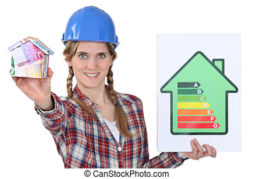 Tradeswoman holding an energy efficiency rating sign and a house made of money