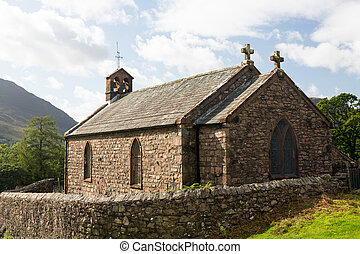 Old stone church in Buttermere Village - Stone church by...