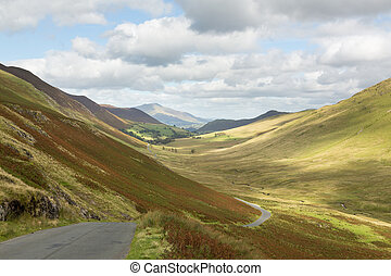 Newlands Pass in Lake District in England - View over...