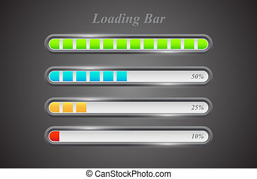 Modern color loading bars set on grey background