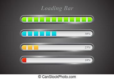 Modern color loading bars set on grey background