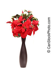 poinsettia vase - seasonal and festive poinsetta plant in...
