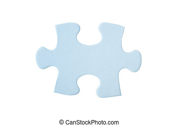 close up of one blue puzzle piece isolated on white...