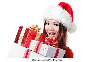 happy Santa Woman with Christmas Gift Box