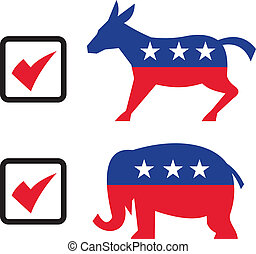 Republican Elephant Democrat Donkey Eelection Ballot