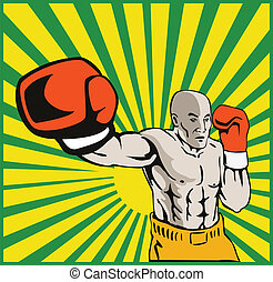 Boxer Boxing Jabbing Front - illustration of a boxer jabbing...