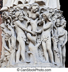 Adame and Eve - Detail on Notre Dame de Paris Cathedral...