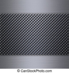 Steel mesh over brushed aluminum background or texture