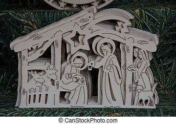 nativity in wood carved - christmas decoration in wood with...