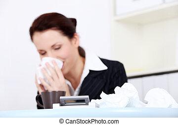 Portrait of a sick young businesswoman - Portrait of a sick...
