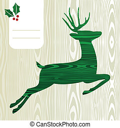 Wooden Christmas deer silhouette - Wood textured Deer with...