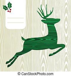 Wooden Christmas deer silhouette - Wood textured Deer with...
