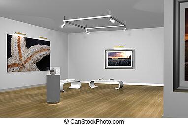 art gallery - a scene render in 3D of an art gallery room...