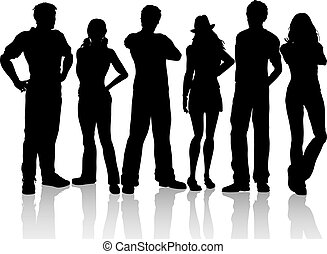 casual people - Silhouettes of a group of casual people