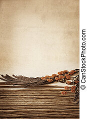 Pressed Flowers in Antique Book - Pressed dried flowers in...