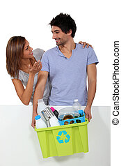 Couple recycling