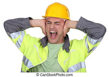 Trabalhadores, coberto, seu, orelhas
