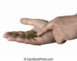 Hand with coins - A one hand counting Euro coins on other...