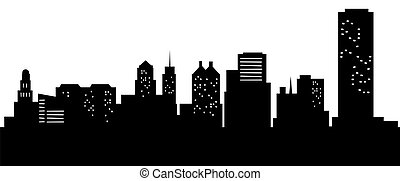 Cartoon Buffalo, NY - Cartoon skyline silhouette of the city...