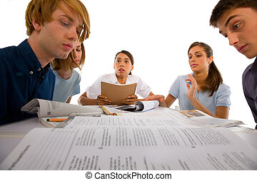 teenagers studying together