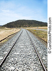 old rail train at albacete country in spain