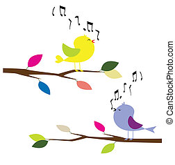 birds singing - couple bird singing on the tree vector of...