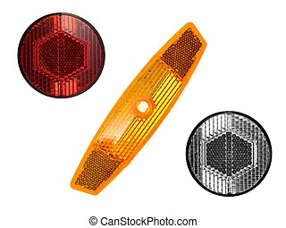 Bicycle Reflectors - Bicycle reflectors isolated against a...