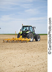 tractor at a field in albacete region from spain europe