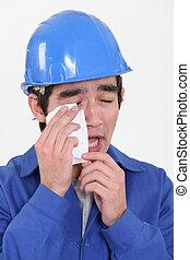 construção, trabalhador, chorando