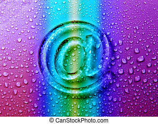 abstract E-mail on liquid bubbles for website