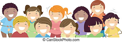 Laughing Kids - Background Illustration Featuring Kids...