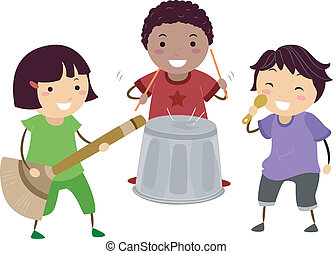 Band Role Playing - Illustration of Kids Playing with an...