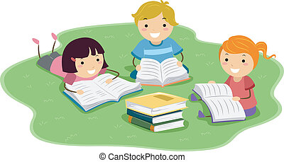 Reading Kids - Illustration of Kids Reading Books While...