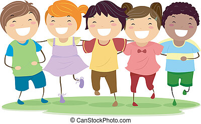 Laughing Kids - Illustration of Kids Laughing Together While...