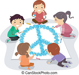 Peace Sign - Illustration of Kids Drawing a Giant Peace...