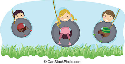 Tire Swing - Illustration of Kids Riding Swings Made from...