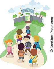 Zoo Kids - Illustration of Kids On their Way to the Zoo for...