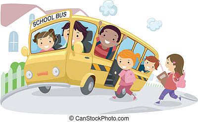 School Bus - Illustration of Kids Riding a School Bus on its...